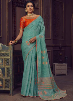 Printed Sea Blue Casuak Wear Linen Saree