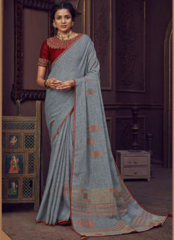 Grey Linen Casual Wear Printed Saree