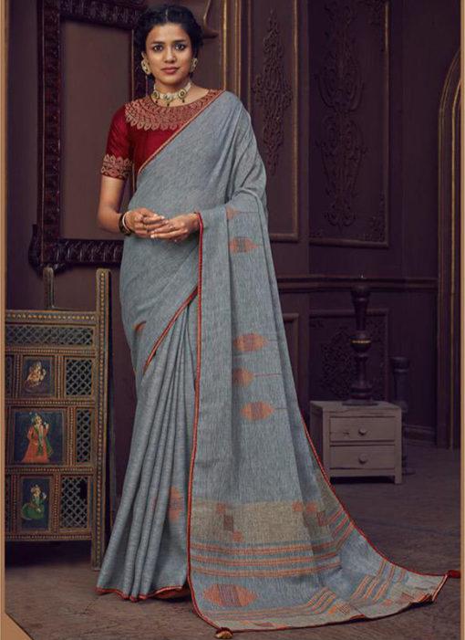 Grey Linen Casual Wear Printed Saree
