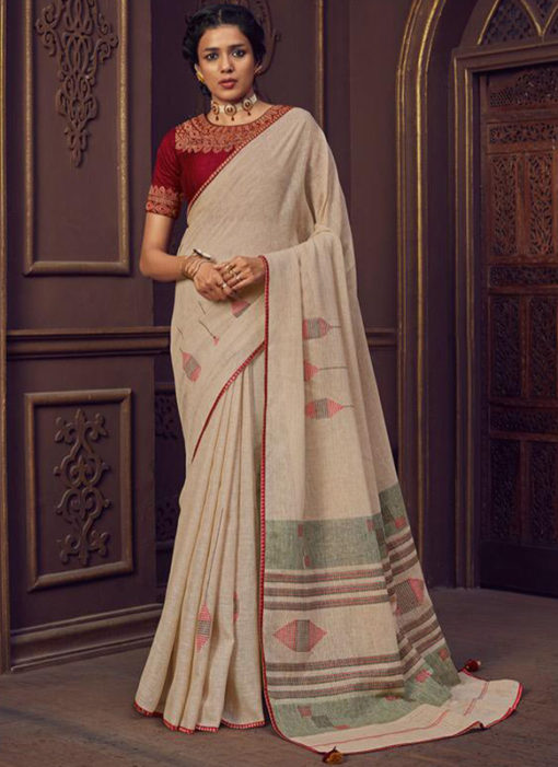 Casual Wear Linen Printed Peach Saree
