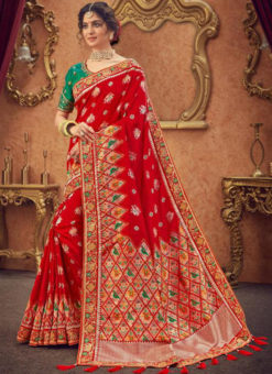 Miraamall Red Silk Zari Work And Patch Border Traditional Saree