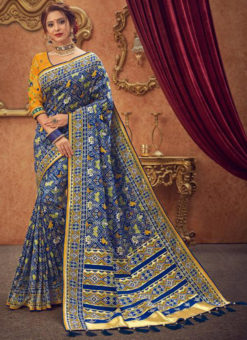 Miraamall Blue Traditional Silk Zari Work Saree