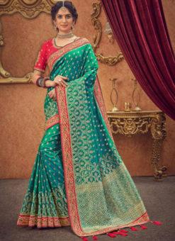 Miraamall Rama Green Zari Work Silk Traditional Saree