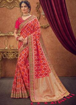 Miraamall Pinkish Silk Zari Work Traditional Saree