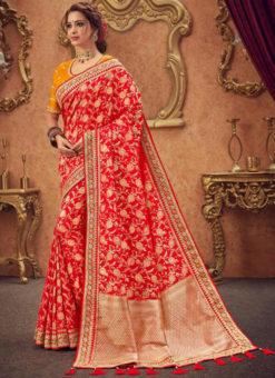 Miraamall Red Zari Work Silk Traditional Wear Saree