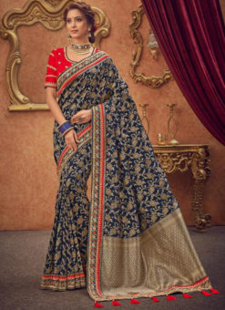 Miraamall Blue Silk Zari Work Traditional Saree