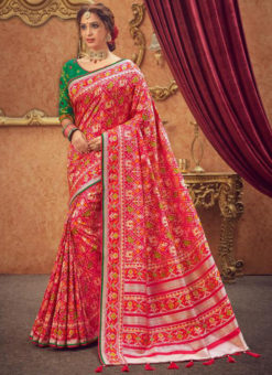 Miraamall Silk Pink Zari Work Traditional Saree