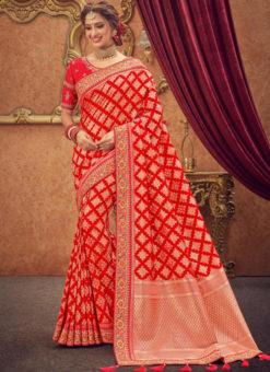 Miraamall Silk Red Traditional Zari Work Saree