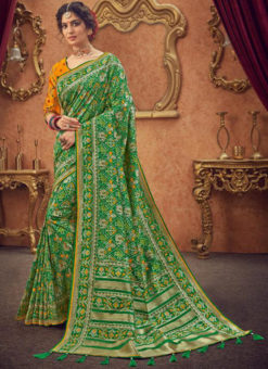 Miraamall Green Zari Work Silk Traditinal Wear Saree