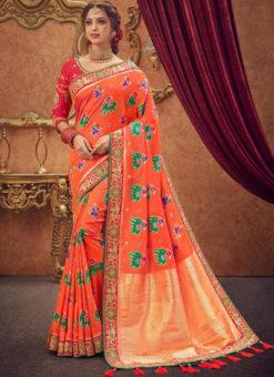 Miraamall Orange Zari Work Traditional Silk Saree