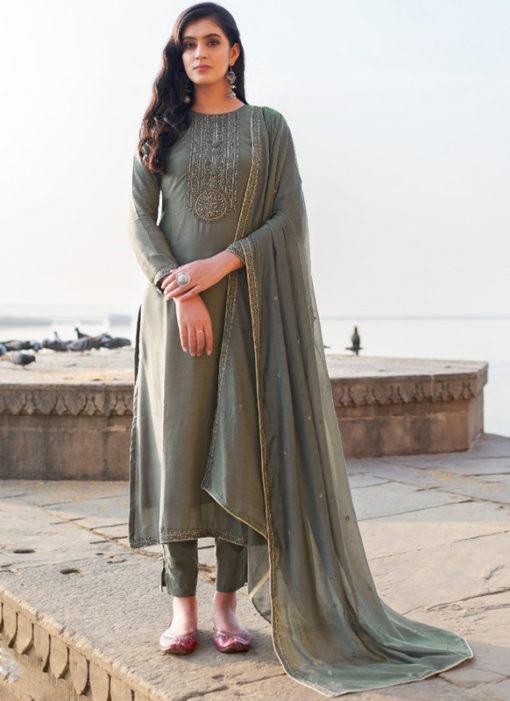 Pink Cotton Silk Handwork Party Wear Designer Salwar Suit