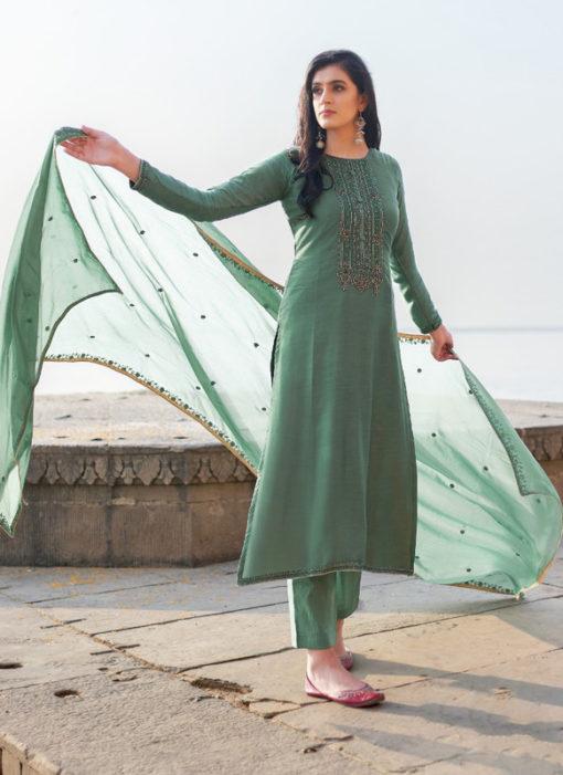 Orange Cotton Silk Handwork Party Wear Designer Salwar Suit