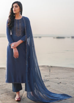 Blue Cotton Silk Handwork Party Wear Designer Salwar Suit