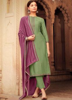 Green Party Wear Embroidered Work Viscose Designer Salwar Suit