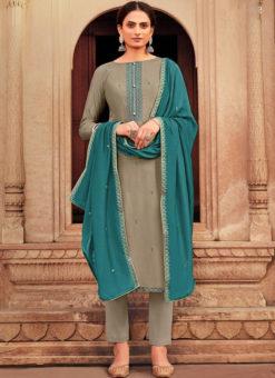 Beige Designer Embroidered Work Party Wear Viscose Salwar Suit