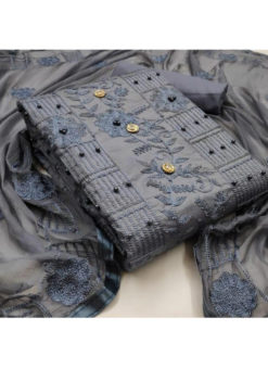 Gratifying Grey Cotton Moti And Embroidered Work Designer Salwar Kameez