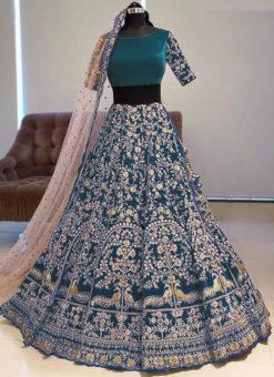 Amazing Firozi Banglory Satin Embroidered Work Bridal Lehenga Choli
