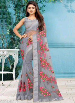 Grey Net Embroidered Work Designer Saree