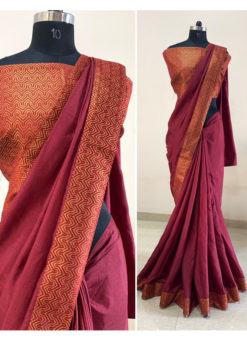 Maroon Dola Silk Zari Border Party Wear Saree