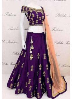 Tapeta Silk Purple With Codding Embroidery Work Designer Lehenga Choli