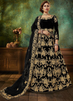 Embroidered Work Party Wear Black Velvet Anarkali Suit