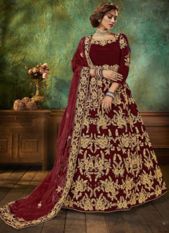 Velvet Embroidered Work Wedding Wear Maroon Anarkali Suit