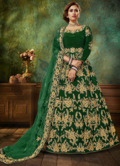 Wedding Wear Velvet Embroidered Work Green Anarkali Suit
