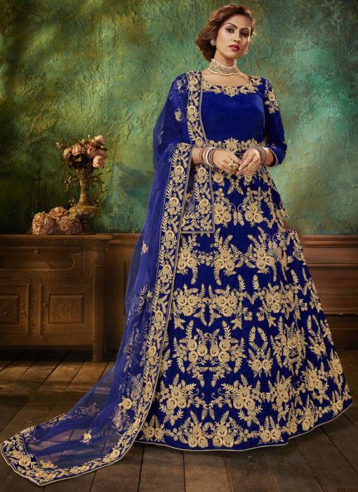 Designer Embroidered Work Velvet Blue Anarkali Suit