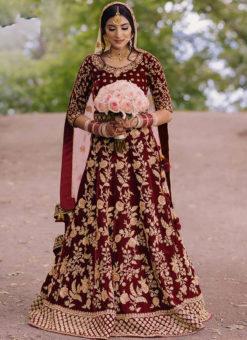 Maroon Velvet Wedding Wear Embroidered Work Designer Lehenga Choli