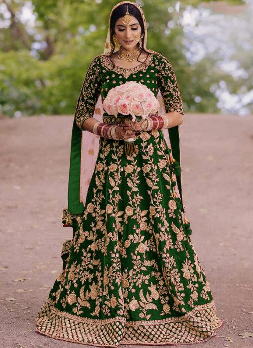 Green Velvet Embroidered Work Designer Wedding Wear Lehenga Choli
