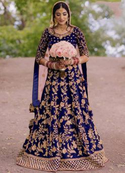 Velvet Blue Embroidered Work Designer Wedding Wear Lehenga Choli