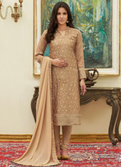 Wondrous Beige Satin Embroidered Work Party Wear Salwar Suit