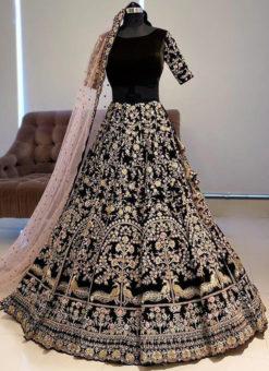 Graceful Black Banglory Satin Embroidered Work Bridal Lehenga Choli