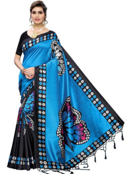 Blue Silk Printed Fancy Jhalar Designer Saree