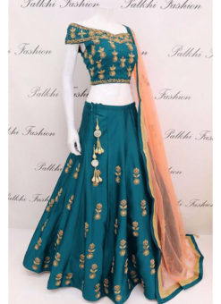 Tapeta Silk Rama Green Codding Embroidery Work Designer Lehenga Choli