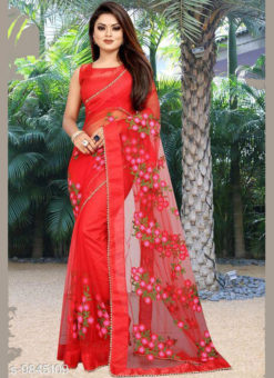 Red Net Embroidered Work Designer Saree