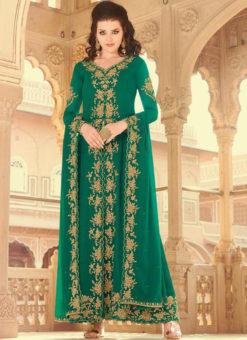 Green Embroidered Work Faux Georgette Designer Salwar Suit