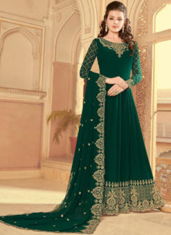 Embroidered Work Green Faux Georgette Party Wear Salwar Suit