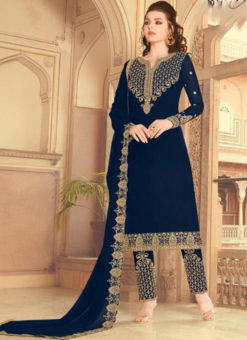 Blue Embroidered Work Party Wear Faux Georgette Salwar Suit