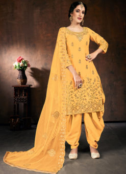 Lavish Orange Jam Cotton Embroidered Work Designer Patiyala Suit