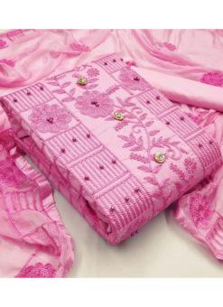 Smashing Pink Moti Work Designer Embroidered Cotton Salwar Kameez