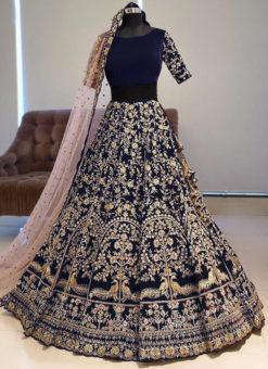Attractive Blue Banglory Satin Embroidered Work Bridal Lehenga Choli