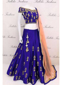 Tapeta Silk With Codding Embroidery Work Designer Blue Lehenga Choli