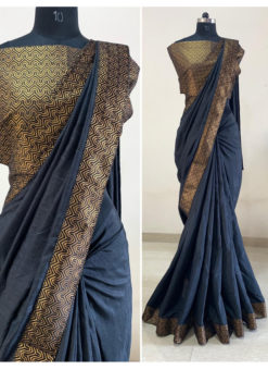 Navy Blue Dola Silk Zari Border Party Wear Saree