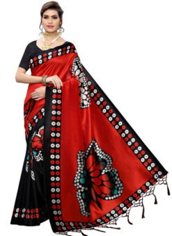 Red Silk Printed Fancy Jhalar Designer Saree