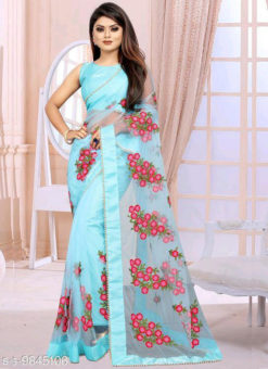 Sky Blue Embroidered Work Designer Net Saree