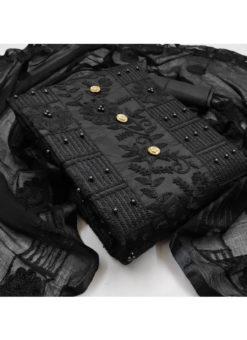 Awesome Black Designer Embroidered Work Cotton Salwar Kameez