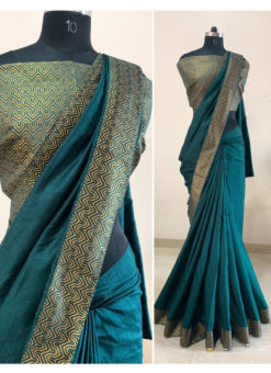 Rama Green Silk Zari Border Party Wear Saree