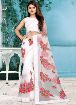 Net White Embroidered Work Designer Saree