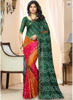Bottel Green And Pink  Silk Handmade Bandhej Work Traditional Saree